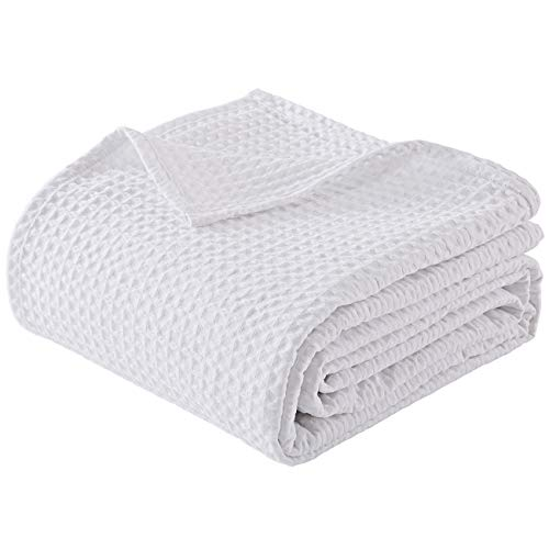 """PHF 100% Cotton Waffle Weave Thermal Blanket Queen Size 90"""" x 90"""" for Home Decorations - Soft Comfortable Breathable and Moisture Absorption for All Season - Perfect for Couch Bed Sofa White"""