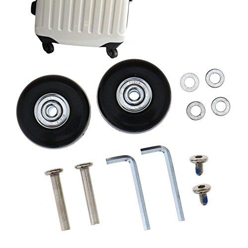 Set di 2 o 4 ruote di ricambio per valigia, 45 mm di diametro, con assi e chiavi a brugola