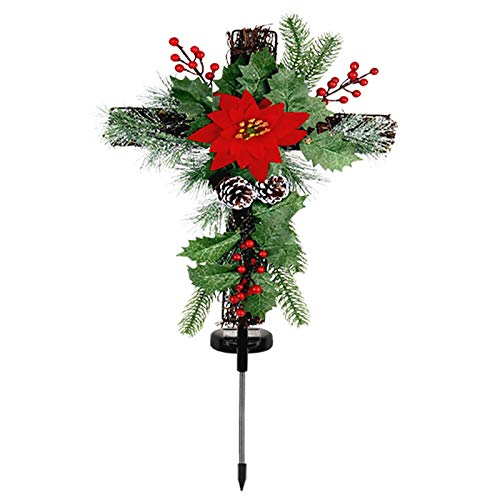 29in x 13in Solar Light Christmas Cross Stake LED Christmas Garden Stakes Decor with Pine Cones and Berries for Home Outdoor Yard Lawn Pathway Walkway Driveway Decoration