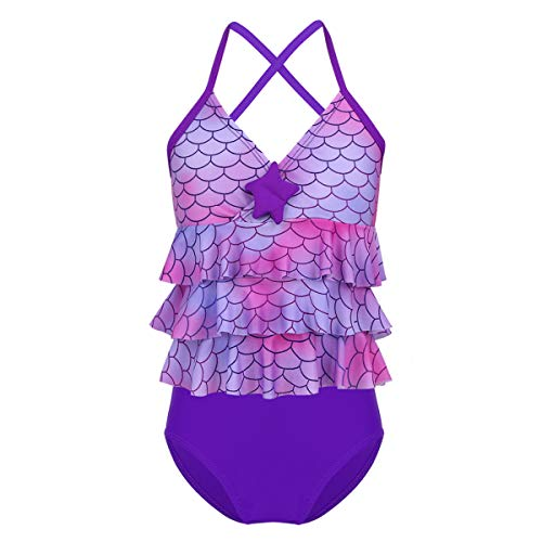 iEFiEL Meerjungfrau Bikini Set Mädchen Tankini Badeanzug Sommer Badebekleidung Fischschuppen gr. 98 104 116 128 140 152 164 Lila 164
