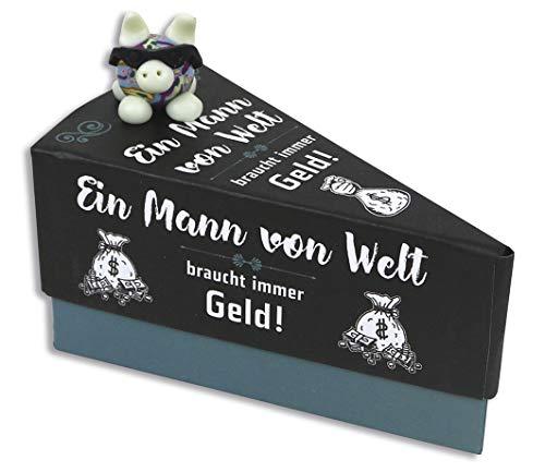KAMACA Geschenkschachtel Tortenstück für Geldgeschenke kleine Geschenke Präsente Männer Geschenkverpackung Geld Gutschein Geburtstag (Geschenkschachtel Ein Mann von Welt)