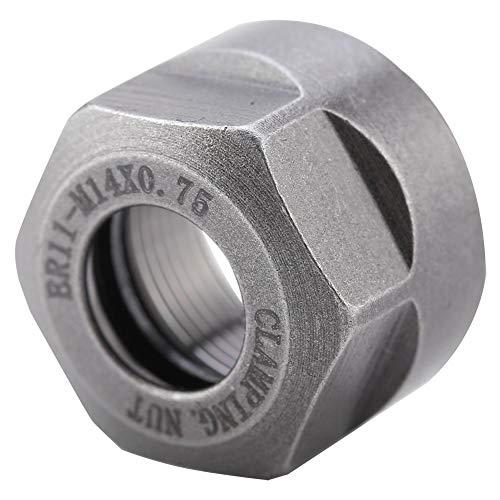 Broca de sujeción, soporte de mandril de tuerca de sujeción de pinza de 1 Uds duradero multiusos para torno de soporte de mandril de mandril de fresado CNC(Silver sandblasting, M14*0.75 ER11A)