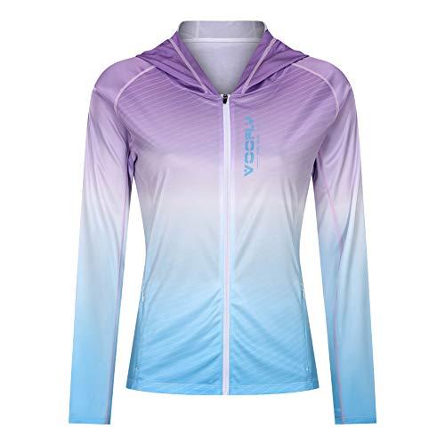Sun Shirts for Women Long Sleeve UV Protection Beach Hiking Shirt Fishing Apparel Purple L
