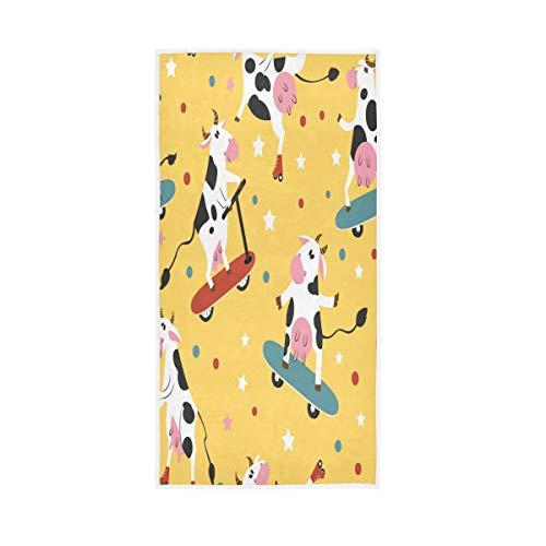 Toalla F17 de lunares de vaca de estrellas de animales de patineta de 30 x 15 pulgadas toalla de mano para el hogar, cocina, baño, gimnasio, natación, spa