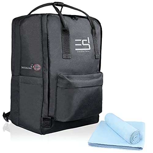 EveryDaySafari® [Ryanair Handgepäck geeignet] 40x20x25 cm Maße erfüllen Bestimmungen, Kabinengepäck, Reise-Rucksack, Reise-gepäck,Koffer-Tasche schwarz