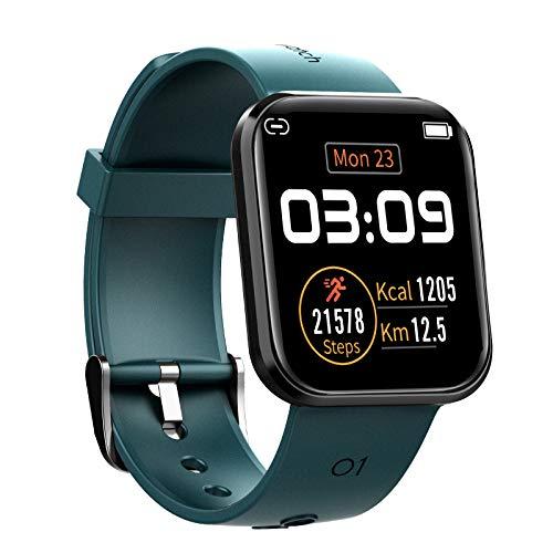 GONGYBZ Reloj Inteligente rastreadores de Actividad física con Monitor de frecuencia cardíaca, Contador de calorías por Pasos, Pantalla a Color IP67 a Prueba de Agua de 1.3', Mujeres y Hombres