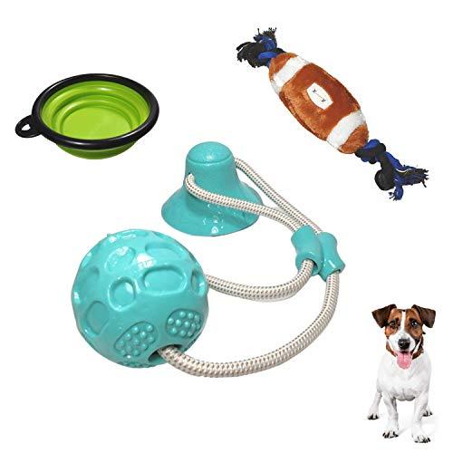 Pack» Pelota con Ventosa Molar Multifuncional para Perros, Juguete Interactivo antiestrés con Cuerda para Tirar + Peluche Balón de Rugby Mordedor + Bebedero de Viaje Portátil Plegable. (Azul)