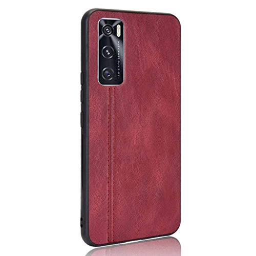 GOGME Hülle für Vivo Y70 2020 Hülle, Ultra-Slim Silikon Handyhülle Leder-Erscheinungsbild Retro Schutzhülle, Stoßfeste Handy-Tasche für Vivo Y70 2020, Rot