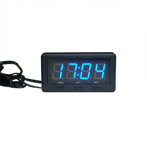 superzubehoer 3 in 1 Blau LED Autothermometer Innen/Außen 12V/24V Auto KFZ Thermometer/Spannungsanzeiger/Uhr Digital Voltmeter Panel-Meter zigarettenanzünder