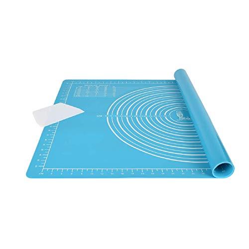 Alfombrilla antideslizante extragruesa para hornear de silicona, tamaño grande, 71 x 51 cm, con cortador de masa, esterilla de silicona XL para fondant pizza, sin BPA (azul)