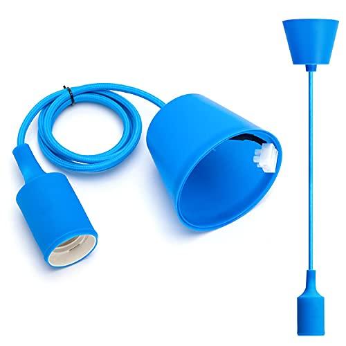 Aigostar E27 Portalámparas colgante de plástico Longitud del cable 100CM, MAX 60W, Zócalo para lámpara colgante de techo Accesorios de bricolaje Azul'