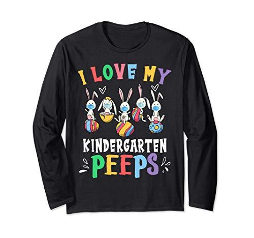 I Love My Kindergarten Peeps Teacher Shirt Masked Bunnies Long Sleeve T-Shirt
