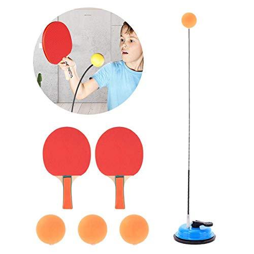 Qinsir Equipo De Tenis De Mesa,Máquina De Entrenamiento Individual De Ping-Pong,Juego De Tenis De Mesa Interactivo para Padres, para Niños Fácil Usar con Varilla Elástica Eje Blando Elástico,Azul