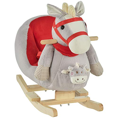 Qaba Kids Ride-On Rocking Horse Toy Rocker with Fun Song Music & Soft Plush Fabric for Children 18-36 Months, Grey