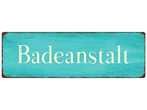 Interluxe METALLSCHILD Türschild BADEANSTALT Schwimmbad Badezimmer Geschenk Baden Deko