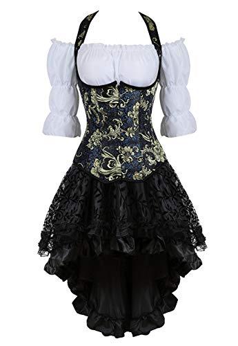 Grebrafan Steampunk Strapse Corsage Kostüm mit asymmetrischer Spitzenrock und Bluse - für Karneval Fasching Halloween (EUR(48-50) 6XL, Schwarz)