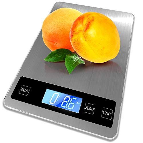 Digital Kitchen Scale 22lb – Food Scale Measures in Grams and Ounces  1 g/1 oz Accuracy for Cooking/Baking Large Backlit LCD Display – 9x63 Panel Size Stainless Steel