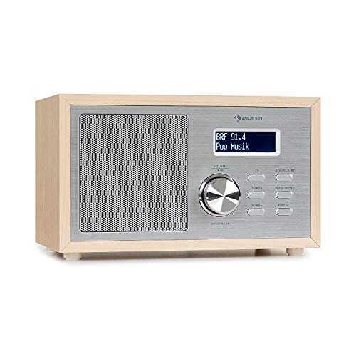 auna Ambient - DAB+/FM Radio, Bluetooth-Streaming: Version 5.0 mit A2DP-Support, Radio: DAB/DAB+ / FM Tuner, LCDisplay, AUX-In, Kopfhöreranschluss, Holzoptik braun