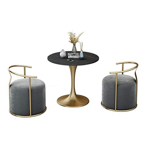 LXJ Tavolo per Chat e negoziazione, Tavolo da Pranzo da Giardino Rotondo Semplice e Moderno e Sedia Tavolo in Marmo Tavolo con Struttura in Metallo (1 Tavolo e 4 sedie) (Color : Gray)