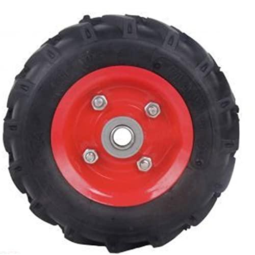 Rueda para carretilla de 22 cm de diámetro y 5,5 cm de grosor con tacos especial para pavimentos de difícil acceso. Neumático para carretillas con ondulaciones para distintos tipos de superficies