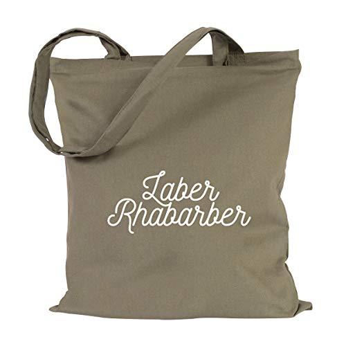 JUNIWORDS Jutebeutel, Wähle ein Motiv & Farbe, Laber Rhabarber (Beutel: Khaki, Text: Weiß)