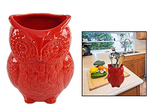 """HOME-X Large Owl Design Ceramic Cooking Utensil Holder, Kitchen Decor for Cooking Accessories, Ceramic Utensil Holder-Multipurpose-Red-7"""" H x 4"""" D"""