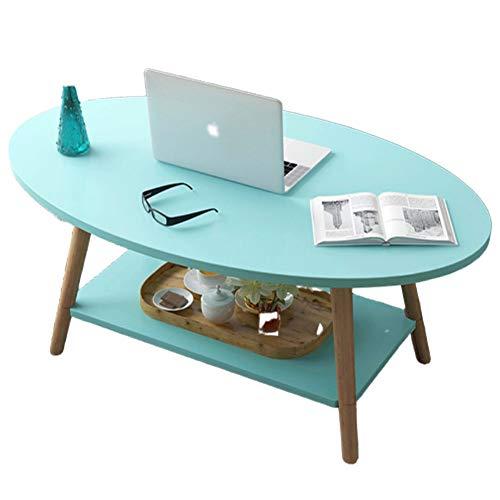 BNSDMM Oval Couchtisch zweilagig Kleine Wohnung Moderne Wohnzimmer Tisch Teetisch Sofa Ecke Tisch Runder Tisch 100x50x42cm leicht zu montieren (Color : Light Blue)