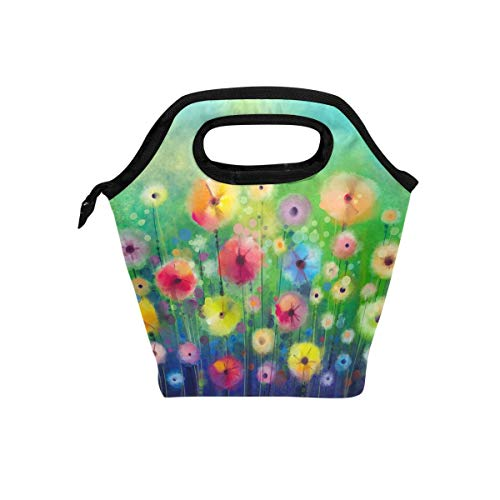 Abstract Art Spring Flower Reusable And Leak-Proof Thermal Insulation Lunch Bag Office Work Hiking Picnic Beach Lunch Box Storage Bag