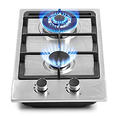 "12"" Gas Cooktops, 2 Burner Drop-in Propane/Natural Gas Cooker, 12 Inch Stainless Steel Gas Stove Top Dual Fuel Easy to Clean (12Wx20L)"