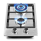 12' Gas Cooktops, 2 Burner Drop-in Propane/Natural Gas Cooker, 12 Inch Stainless Steel Gas Stove Top Dual Fuel Easy to Clean (12Wx20L)