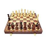 HKRSTSXJ Conjunto de ajedrez Plegable de Madera con el Interior del Tablero de Juego Plegable para el Almacenamiento para los niños Adultos para niños Principiante Tablero de ajedrez Grande 45 cm