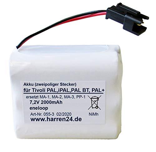 Ersatzakku (2-poliger Stecker) für Tivoli Pal, iPal, Pal BT, Pal+, ersetzt Akku PP-1, MA-1, MA-2, MA-3, High Power, gefertigt aus eneloop Zellen