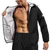 Chumian Vêtements de Sudation Homme Sauna Costume Veste Pantalon pour Perte de Poids Combinaison de survêtement Minceur Sport (Noir, M)