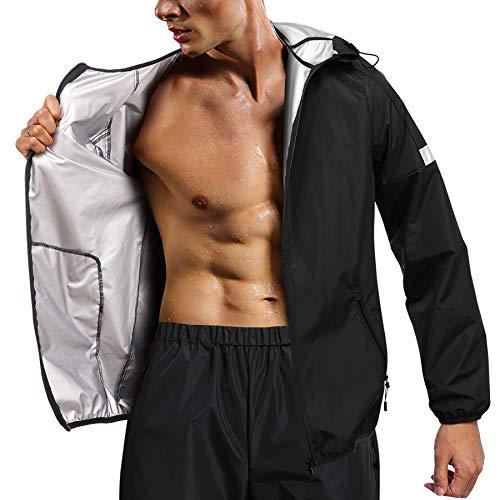 Chumian - Ropa de sudación para hombre, sauna, chaqueta para pérdida de peso, traje de chándal deportivo adelgazante (negro)