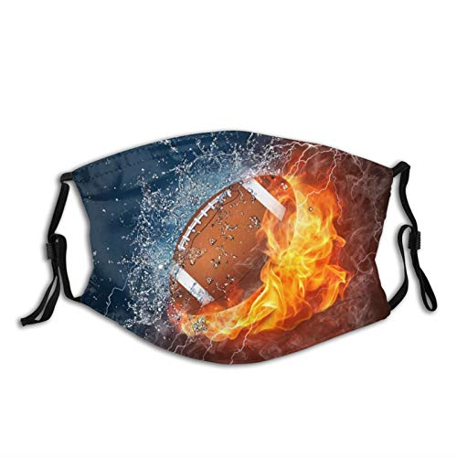American Football Ball in Fire and Water,Reusable Face Mask Balaclava Washable Outdoor Nose Mouth Cover for Men and Women