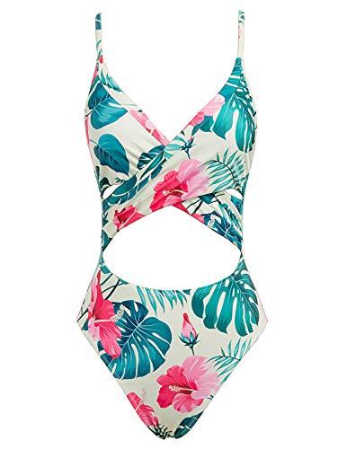 Bañador Reductor de Mujer Traje de Baño de Una Pieza de Rayas Floral S CL0984-1