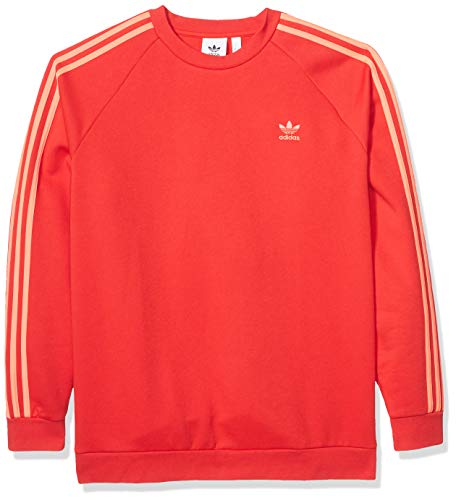 adidas Originals Men's 3-Stripes Crew Sweatshirt, Scarlet/flash red, Large