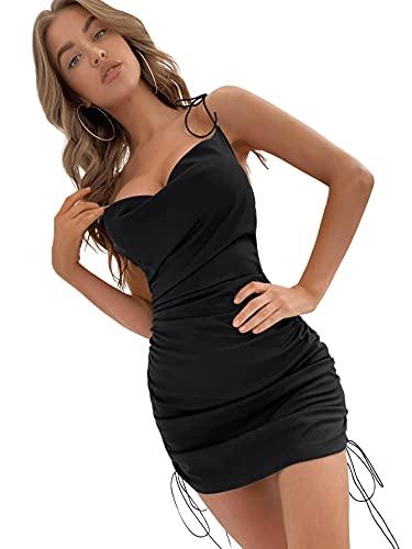 DIDK Damen Minikleid Bodycon Partykleid Drapiert Ziehbändchen Knoten Bleistift Sexy Kleid Spaghettiträger Sommerkleid Schwarz L