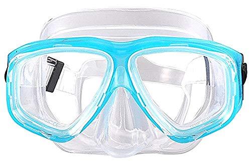 WOWDECOR Schnorchelmaske Taucherbrille Dioptrin Dioptrien Korrektur, Tauchmaske Tauchermaske für Erwachsene und Kinder mit Kurzsichtigkeit Kurzsichtig (See blau, -2,0)