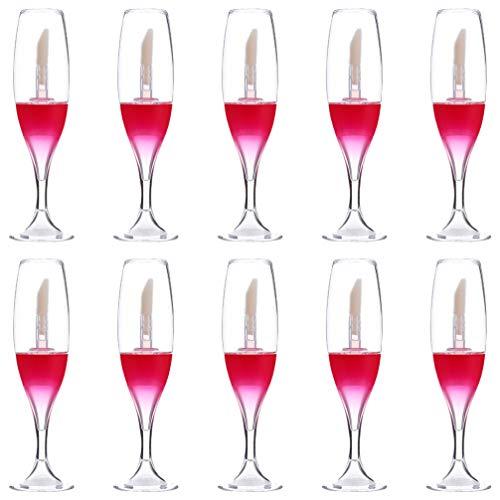 FRCOLOR 10 Piezas Vacías Botellas de Brillo de Labios Copa de Vino Tubo de Brillo de Labios Envases Cosméticos Recargables Tubos de Brillo de Labios para Mujeres Niñas Cosméticos de