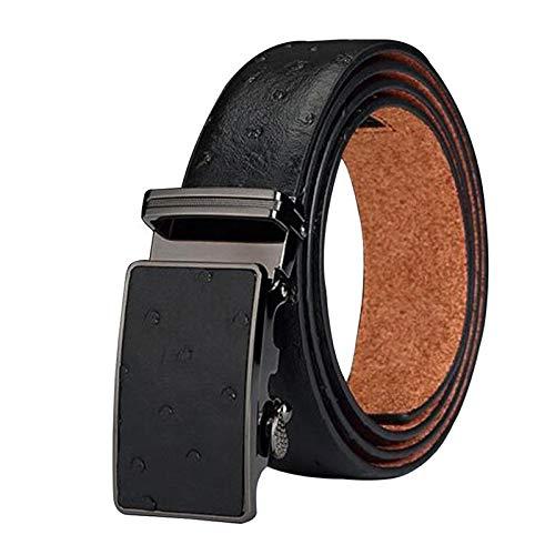 BVCX Las Correas de Cuero Genuino for los Hombres cinturón de Grano de la Avestruz Vacuno Hebilla de cinturón automático (Belt Length : 130cm, Color : Black1)