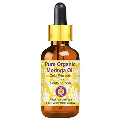 Huile de moringa (Moringa oleifera) organique pure de Deve Herbes avec compte-gouttes en verre 100% naturel, qualité thérapeutique, pressé à froid 5ml (0,16 oz)