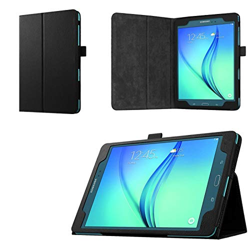Asng Samsung Galaxy Tab A 9.7 Folio Case - Slim Fit Premium Vegan Leather Cover for Samsung Tab A 9.7-Inch Tablet SM-T550, SM-P550 (with Auto Sleep/Wake Feature) (Black)