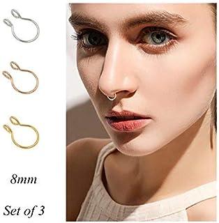 5944b3ff286 Fake Septum Nose Ring Fake Nose Rings 20g Hoop Nose Ring Gold Rose Gold  Silver 8mm