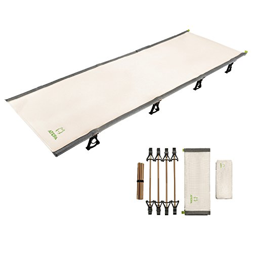 ATEPA Ultralight Folding Camping Cot for Adult, Portable Lightweight Sleeping Bed with Side Pocket for Backpacking,Travel, Office Nap,Hiking (4.4 lbs), AC3101_Beige, One Size