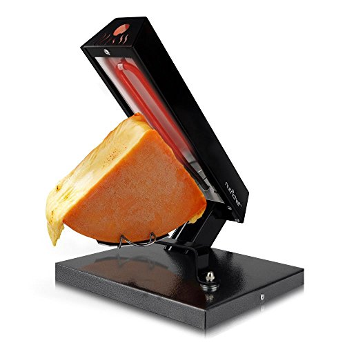 NutriChef Raclette Grill Melter/Warmer Electric Machine-Swiss Style Maker-to Cover Potatoes, Vegetables or Pasta with Melted Cheese, One Size, Black/Chrome