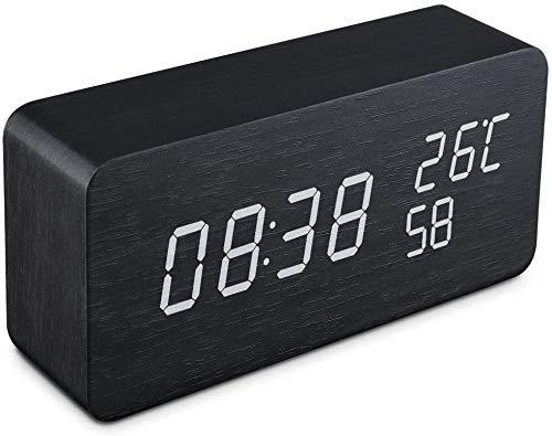Fohil Wecker Digitaler LED Holzalarm mit Datum/Woche/Temperatur/Feuchtigkeit 12/24H und 3 Einstellbare Helligkeit Modern Tischuhr mit 3 Weckzeiten Alarm Clock mit USB Kabel