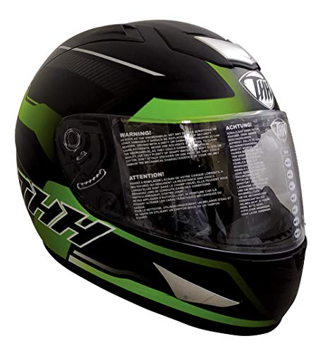THH Helmets TS-41 Arcade Full Face Single Shield Bike Helmet (Black/Green, Matt Finish, Large Size)