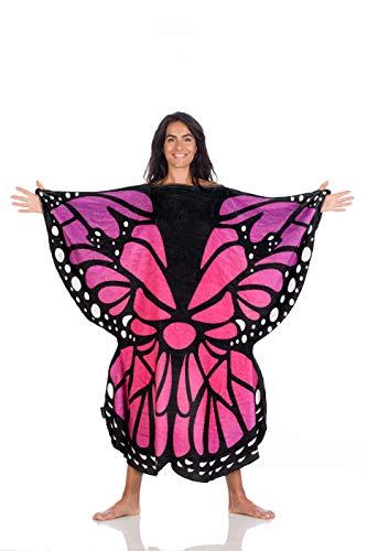 Coperta indossabile Butterfly, spffoce pile, copre fronte e retro e ti permette di camminare ed usare le braccia, dimensioni 120x120 cm per adulti, color farfalla