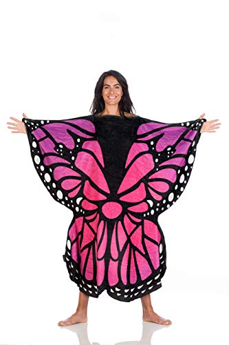 Kanguru Butterfly Coperta, Poliestere, Rosa, Blu, Nero, Adulti 130x130 cm